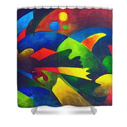 Fins Shower Curtain by Sally Trace