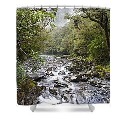 Fiordland National Park New Zealand Shower Curtain by Venetia Featherstone-Witty