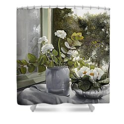 Fiori Bianchi Alla Finestra Shower Curtain by Danka Weitzen