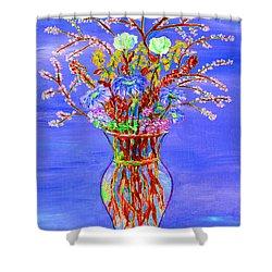 Shower Curtain featuring the painting Fiori by Loredana Messina