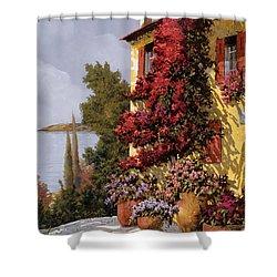 Fiori Rosssi E Muri Gialli Shower Curtain by Guido Borelli