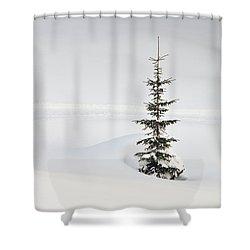 Fir Tree And Lots Of Snow In Winter Kleinwalsertal Austria Shower Curtain by Matthias Hauser