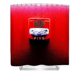 Fire Alarm Strobe Shower Curtain by Richard Reeve