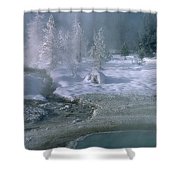 Fire And Ice - Yellowstone National Park Shower Curtain by Sandra Bronstein