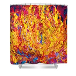 Shower Curtain featuring the painting Fire And Passion - Here's To New Beginnings by Eloise Schneider