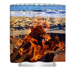 Shower Curtain featuring the photograph Fire At The Beach by Mariola Bitner