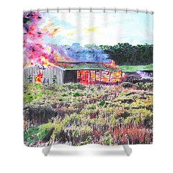 Fire At Whitney Beef Shower Curtain