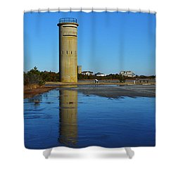 Fire Control Tower 3 Icy Reflection Shower Curtain