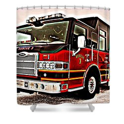 Fire Engine Red Shower Curtain by Frozen in Time Fine Art Photography
