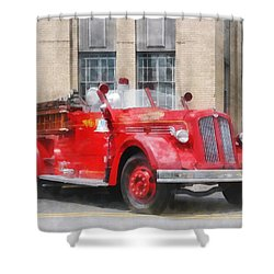Fire Fighters - Vintage Fire Truck Shower Curtain by Susan Savad