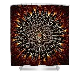 Fire Glyph Shower Curtain by Anastasiya Malakhova