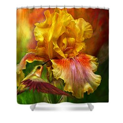 Shower Curtain featuring the mixed media Fire Goddess by Carol Cavalaris