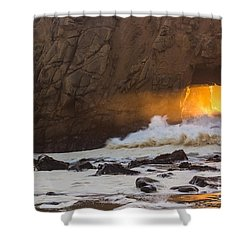Fire In The Hole Shower Curtain by Suzanne Luft