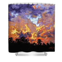 Fire In The Sky Shower Curtain by Craig T Burgwardt