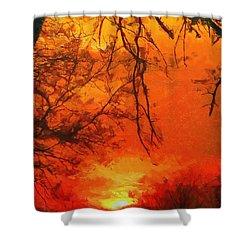Fire In The Sky Shower Curtain by Jeffrey Kolker