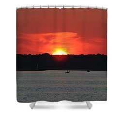 Shower Curtain featuring the photograph Fire In The Sky by Karen Silvestri