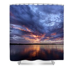 Fire In The Sky Sunset Over The Lake Shower Curtain