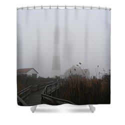 Fire Island Lighthouse In Fog Shower Curtain by Karen Silvestri