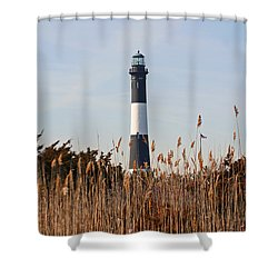 Shower Curtain featuring the photograph Fire Island Tower by Karen Silvestri