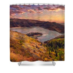 Fire Lake At Sunset Shower Curtain