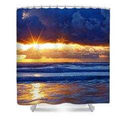 Fire On The Horizon Shower Curtain by Darren  White