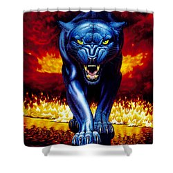 Fire Panther Shower Curtain by MGL Studio - Chris Hiett