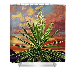Fire Sky Desert Blooming Yucca Shower Curtain
