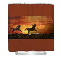 Fire Sky Shower Curtain by Melinda Hughes-Berland