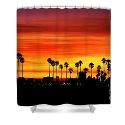 Shower Curtain featuring the photograph Fire Sunset In Long Beach by Mariola Bitner