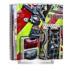 Fire Truck - Keep Back 300 Feet Shower Curtain by Paul Ward
