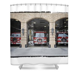 Fire Trucks At The Lafd Fire Station Are Decorated For Christmas Shower Curtain by Nina Prommer