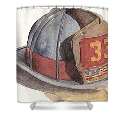 Firefighter Helmet With Melted Visor Shower Curtain