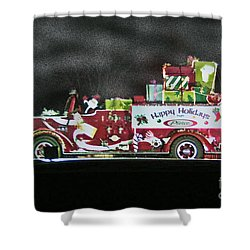 Firefighters Christmas Shower Curtain by Tommy Anderson