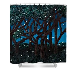 Shower Curtain featuring the painting Fireflies by Cheryl Bailey