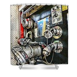 Fireman - Control Panel Shower Curtain by Paul Ward