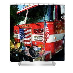 Fireman - Front Of Fire Engine Shower Curtain by Susan Savad