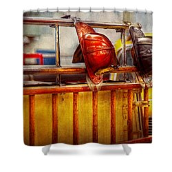 Fireman - Hat - Waiting For A Hero  Shower Curtain by Mike Savad
