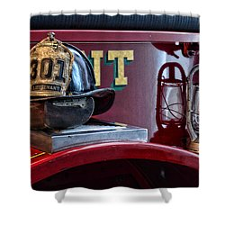 Firemen - Fire Helmet Lieutenant Shower Curtain by Paul Ward
