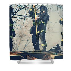 Firemen Shower Curtain by Laurie Search