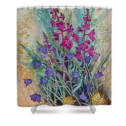 Fireweed And Bluebells Shower Curtain