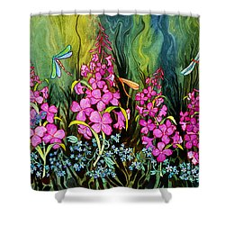 Fireweed And Dragonflies Shower Curtain