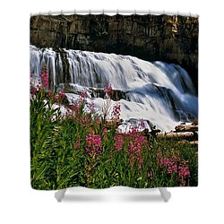 Fireweed Blooms Along The Banks Of Granite Creek Wyoming Shower Curtain