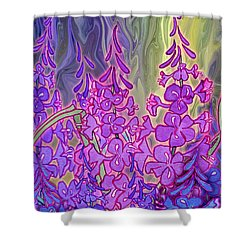 Shower Curtain featuring the mixed media Fireweed Medley by Teresa Ascone