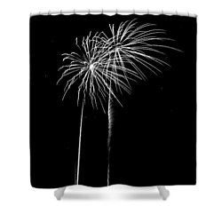 Firework Palm Trees Shower Curtain by Darryl Dalton