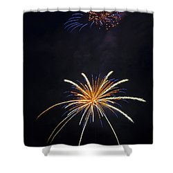 Fireworks 3 The Spaceship Shower Curtain by Dianne Phelps
