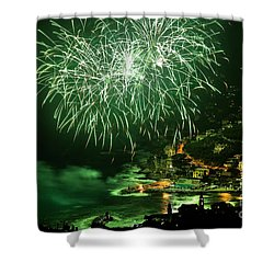 Shower Curtain featuring the photograph Fireworks Hdr by Antonio Scarpi
