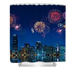 Fireworks In Miami Shower Curtain by Carsten Reisinger