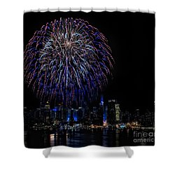 Fireworks In New York City Shower Curtain by Susan Candelario