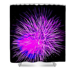 Fireworks In Purple Shower Curtain by Michael Porchik