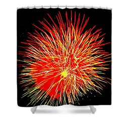 Fireworks In Red And Yellow Shower Curtain by Michael Porchik